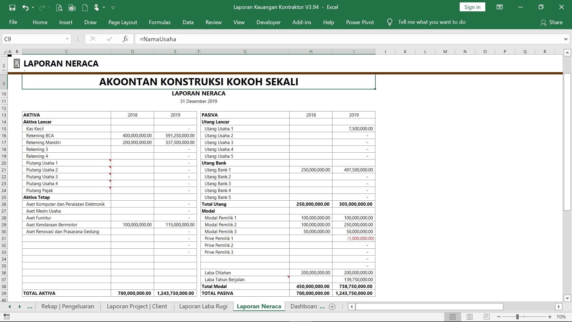 Ak019 Aw Xl Laporan Keuangan Jasa Konstruksi Akoontan