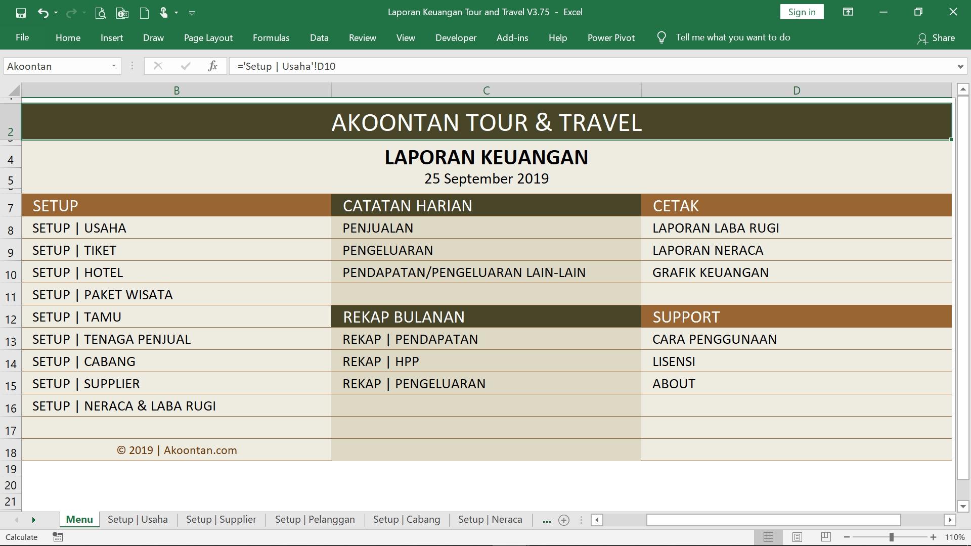 Ak026 Aw Xl Laporan Keuangan Tour Travel Akoontan