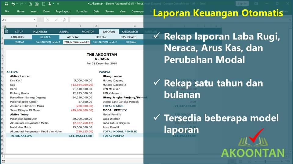 Laporan Keuangan Otomatis dengan Excel Akuntansi Siap Pakai