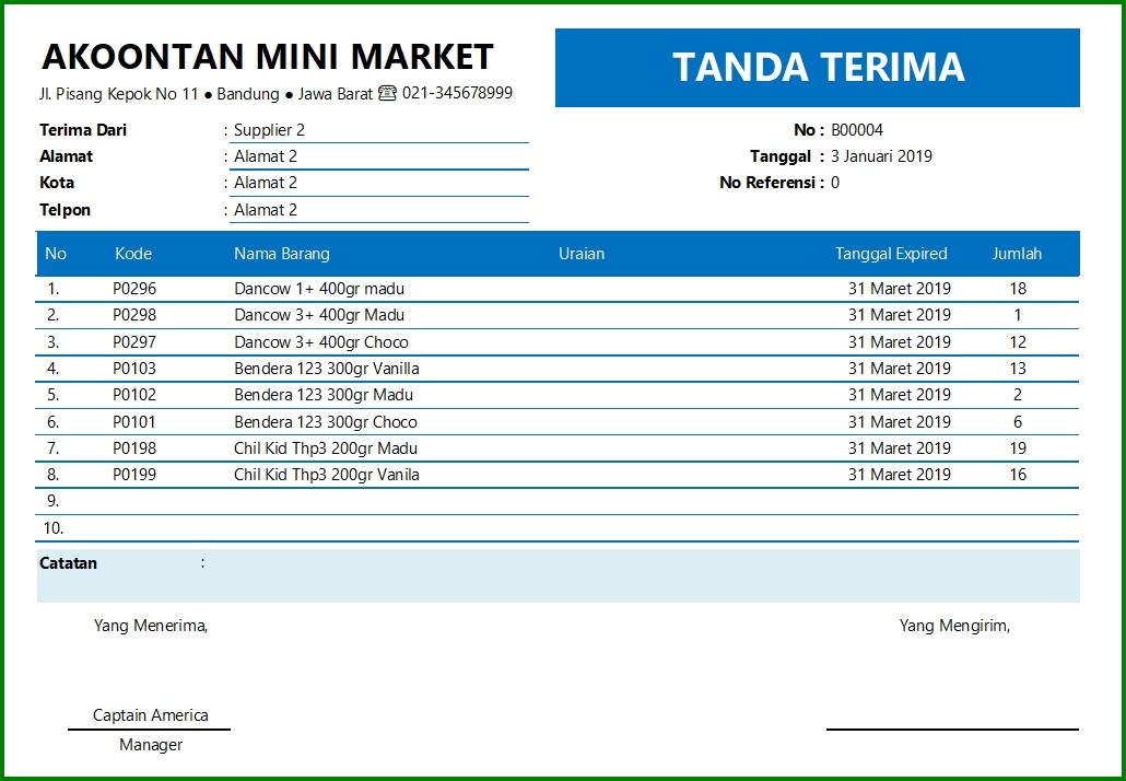 Aplikasi Stok Barang Tanggal Expired - Format Tanda Terima