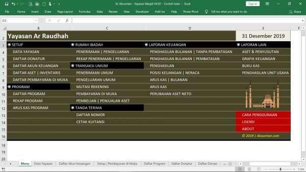 Excel Akuntansi Masjid - Menu Depan