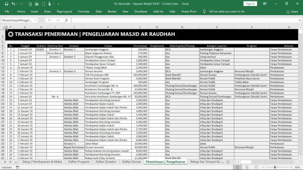 Excel Akuntansi Masjid - Menu Transaksi